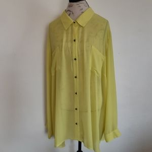 Torrid Neon Yellow Sheer Blouse NWT Women's 4X